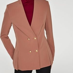 NWT Zara V-neck Double Breasted Blazer